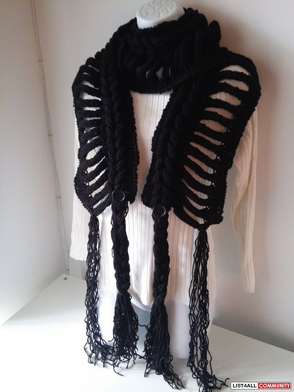 New Handmade knitted scarf with fringes, black