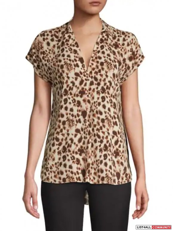nwt Halston Hi-Low Leopard Top M