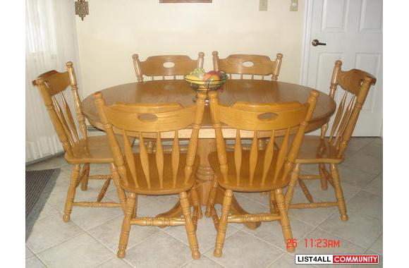 7 piece traditional solid oak dining room or kitchen table for Kitchen table set 7 piece