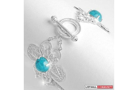 High Quality Bracelet with Genuine Turquoise Crafted in Solid 925 Ster