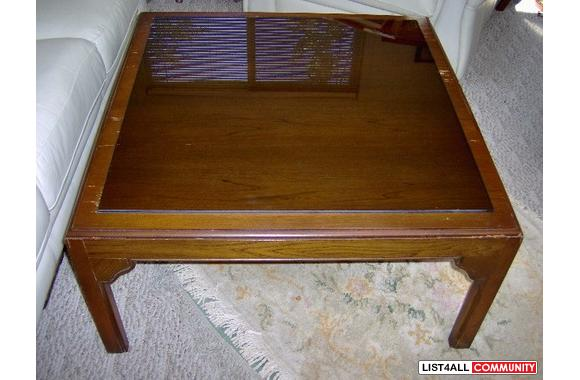 Elegant 32 Square Rich Dark Wood Coffee Table With Protective Gl