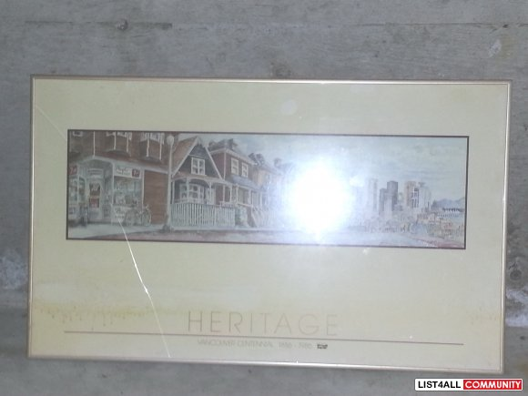 Heritage Vancouver Centennial Painting w/ Bronze frame - (north vancou