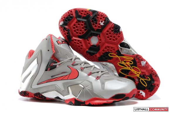 Cheap Lebron 11 Elite Grey Red White Black Yellow For Sale on www.Disc