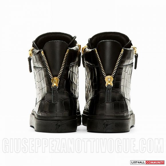 Giuseppe Zanotti Men's High Top Croc Sneakers Black