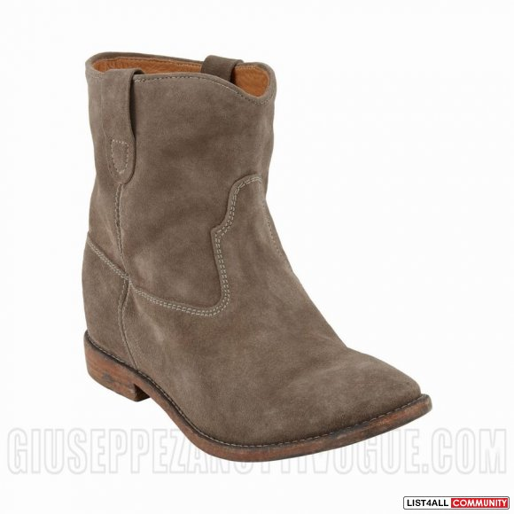 Isabel Marant Crisi Suede Concealed Wedge Biker Boots In Taupe
