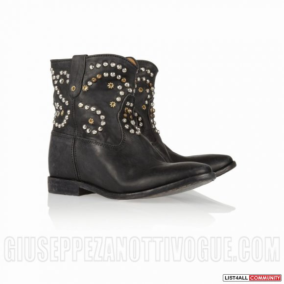 Isabel Marant Caleen Studded Leather Concealed Wedge Boots In Black