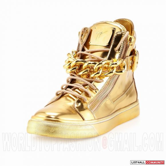 Giuseppe Zanotti Women's High Top Sneakers Chain Gold