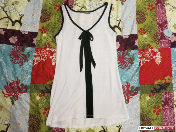 White and Black Tank Top - Size XS