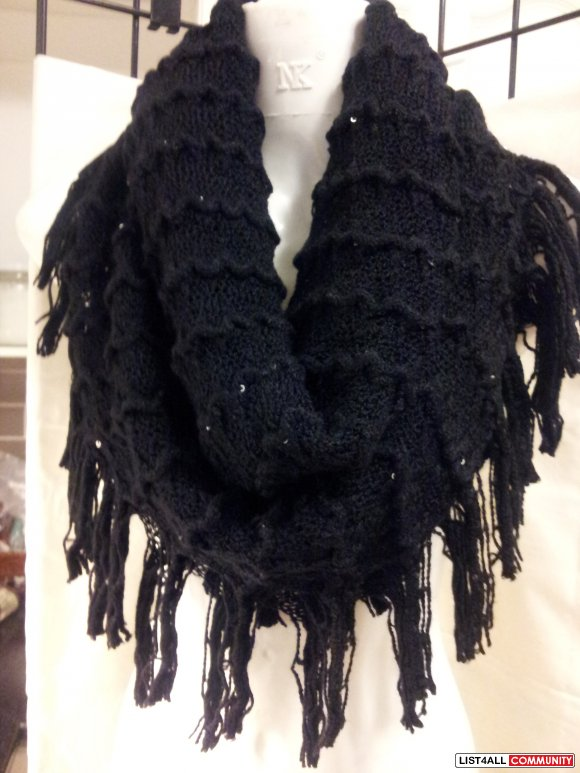 Brand New Soft Gorgeous Fringe Knit Infinity Scarf With Sequins