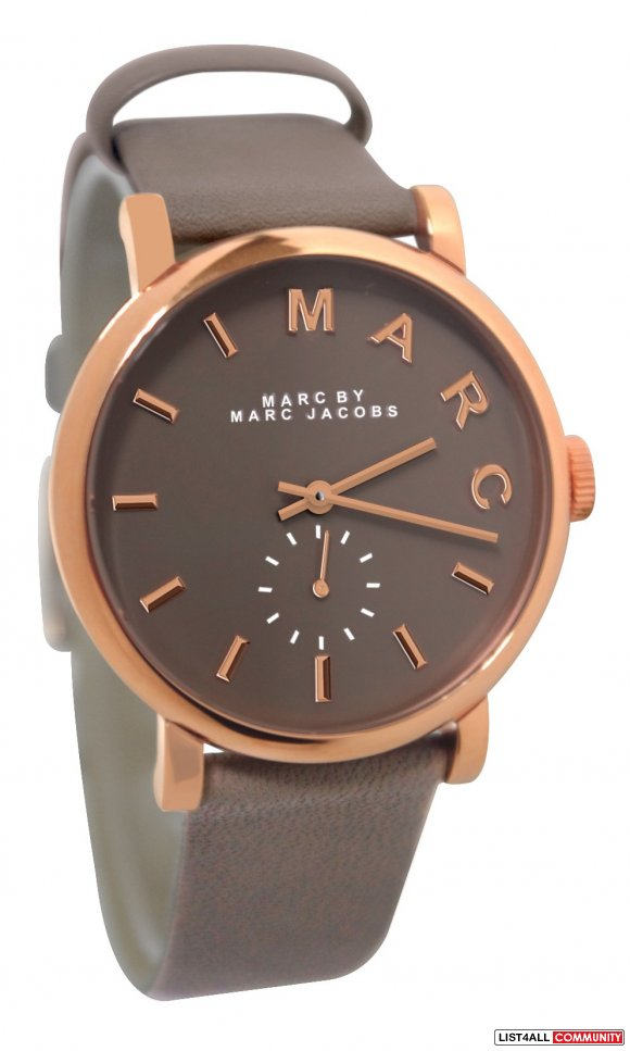 MARC JACOBS ROSE GOLD BAKER WATCH W GREY STRAP
