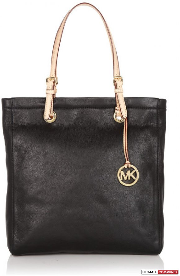MICHAEL KORS LARGE BLACK JET SET LEATHER TOTE