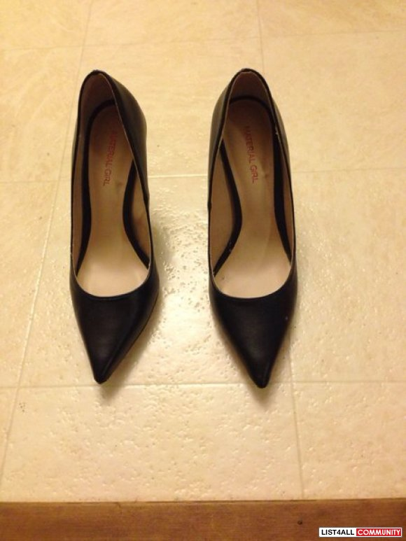 Worn once - Black leather pumps ~ Sz 7
