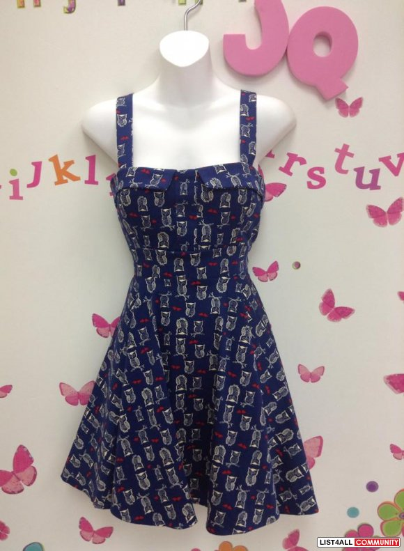 Navy Owl and Hearts Pin Up Dress S,M,or L, Junior