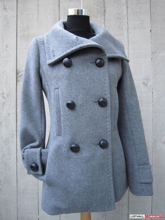 Excellent Used Aritzia Babaton Howell Wool Coat in Gray XS Size