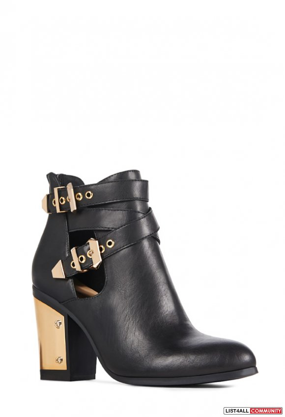 Black Leather Booties with Gold Hardware