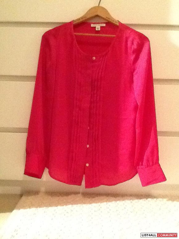 Hot Pink Satin Blouse, size XS