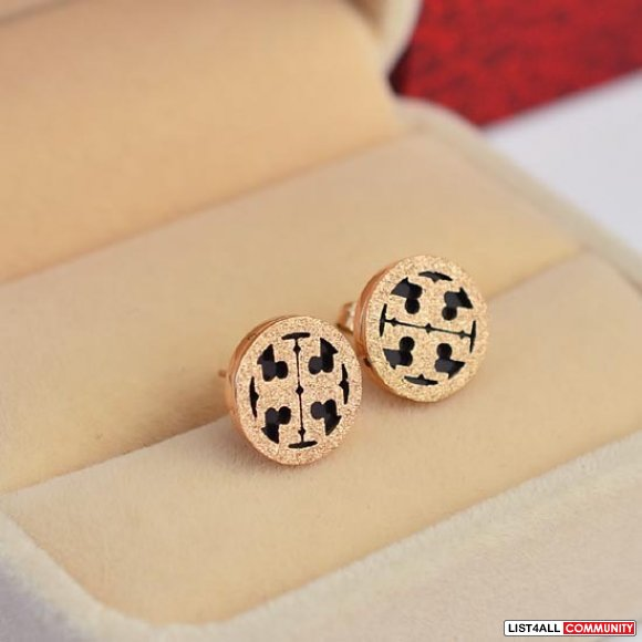 tory burch stud  titanium 14K rose gold plated stud earrings