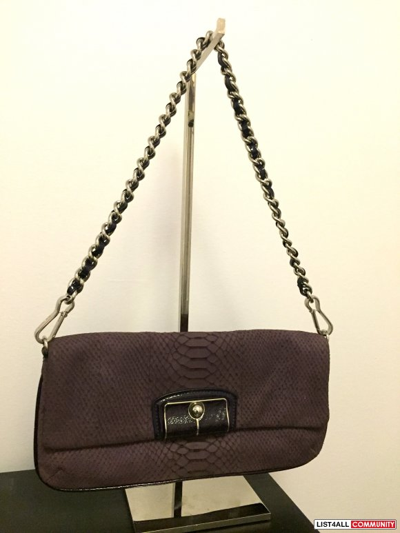 Coach Python Embossed Nubuck Clutch