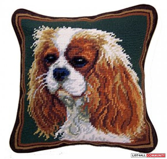 Needlepoint Cavalier Pillow
