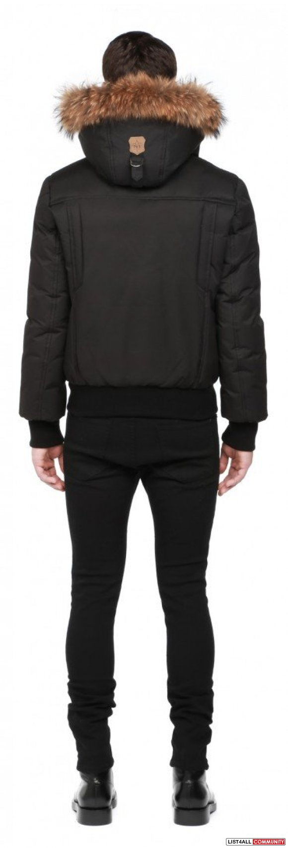 Mackage black lux down bomber with fur hood mens