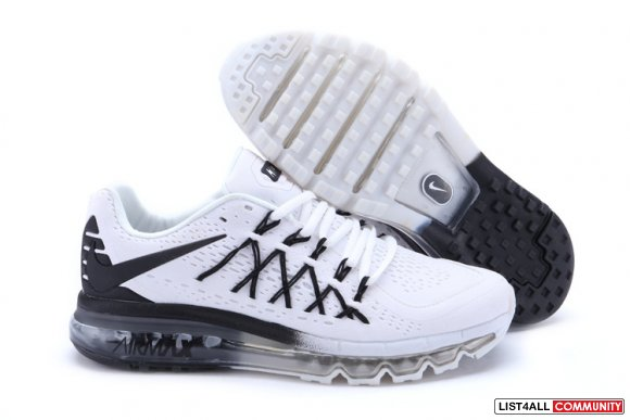Nike Air Max 2015 Mens White Black Running Shoes www.cheapnikeroshes.c