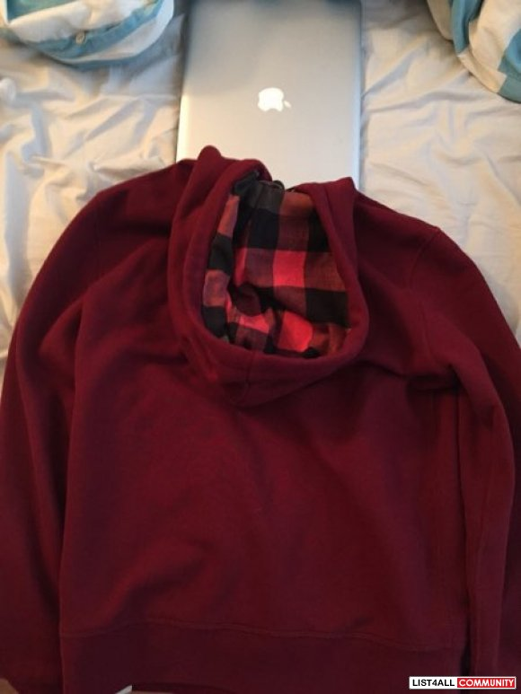 Burberry Jersey Hooded Sweater Sz L (Burgundy)