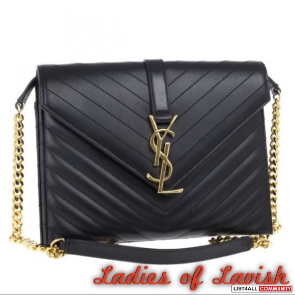YSL ENVELOPE MONOGRAM BLACK BAG