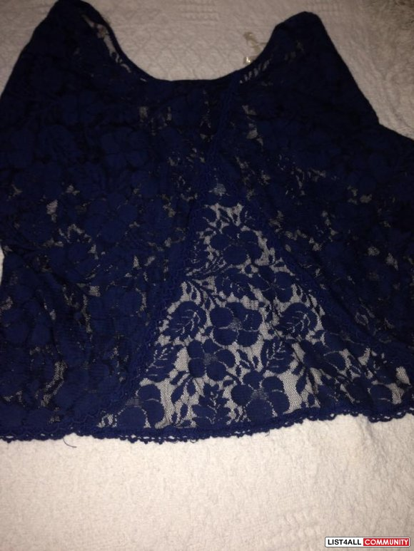 Blue Lace Butterfly Top