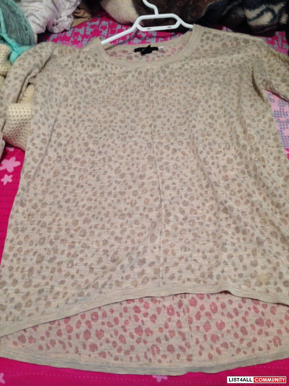 H&M Long Sleeve Animal Print Top