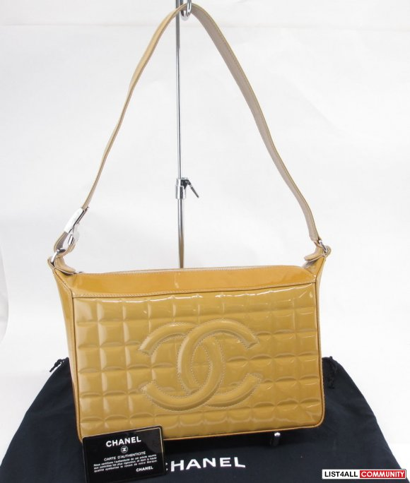 Auth CHANEL Patent Leather Chocolate Bar Stitch Shoulder Bag Beige