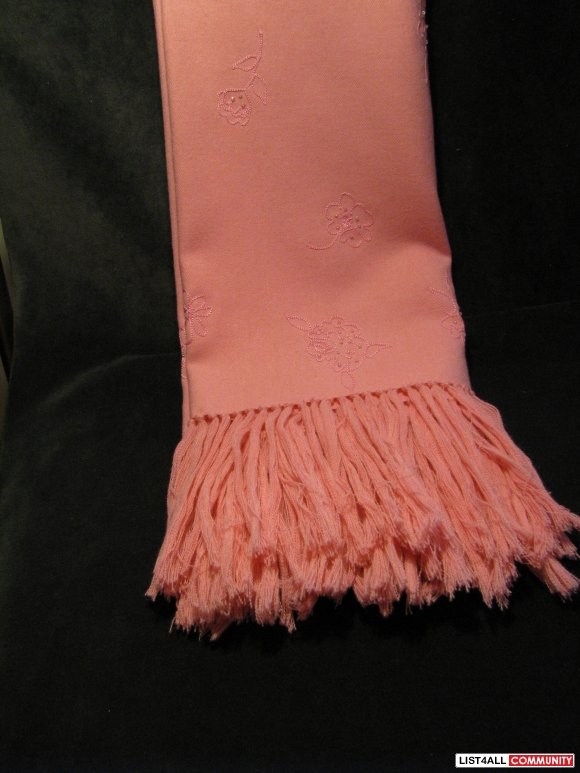 Pink Wool Embroidery Scarf Wrap Shawl