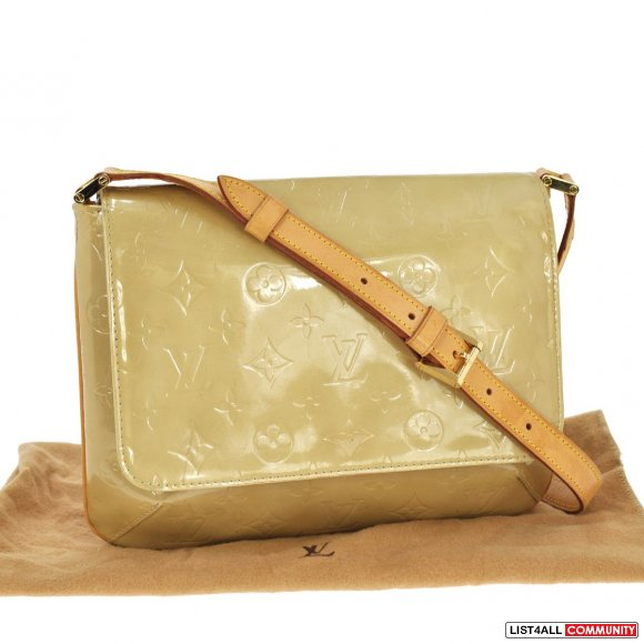 Auth  LV Louis Vuitton Vernis Thompson Street Purse/Bag Patent Beige