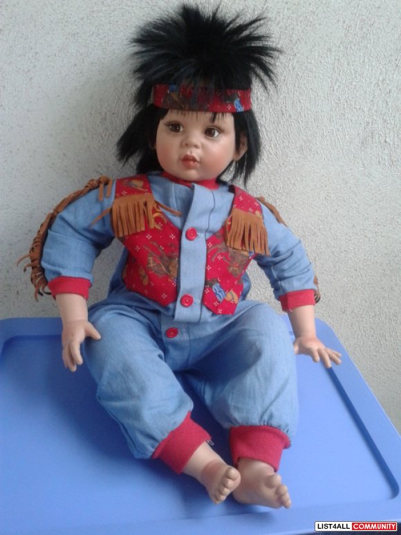 "Collectible 26"" Tommy Hawk Native Boy Doll Fayzah Spanos REDUCED$100"