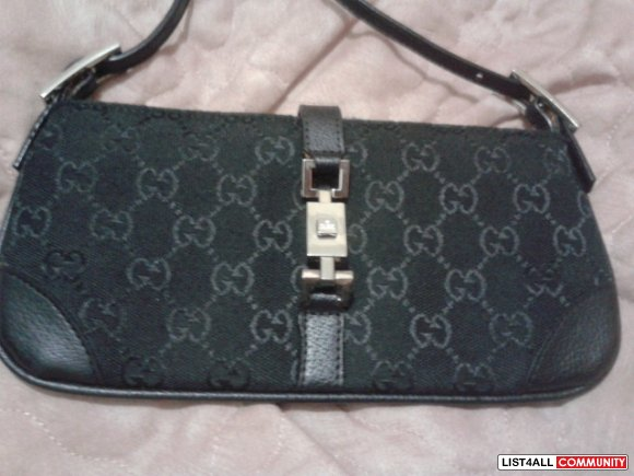 Gucci Jackie O Black Signature Bag Replica REDUCED