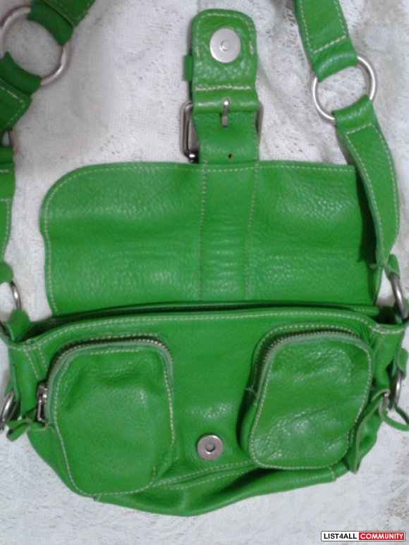 NEW Small Emily Prince Leather Green Bag by ROOTS