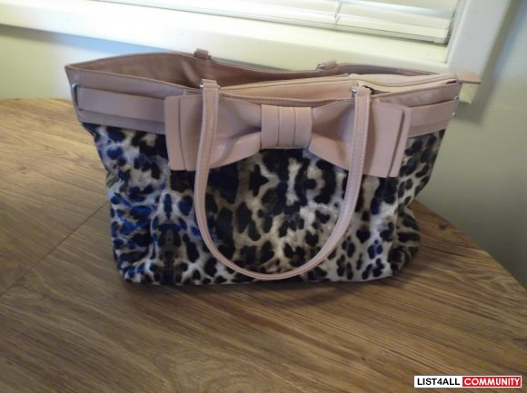 Leopard print handbag with bow-like new