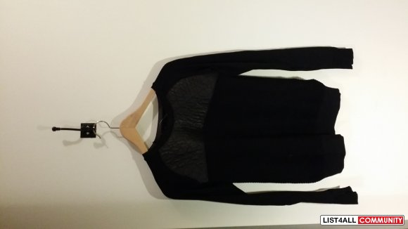 Edgy Zara Never Worn Long Sleeve with three different materials used