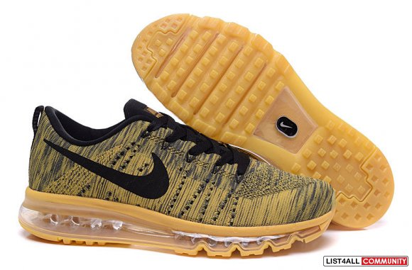 Cheap Nike Flyknit Air Max Mens Gold Black www.airmaxpremiums.com