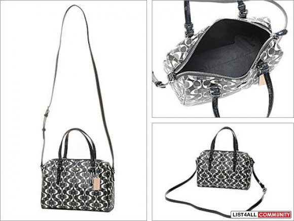 COACH Peyton Dream Black White Grey Satchel Crossbody Bag Purse