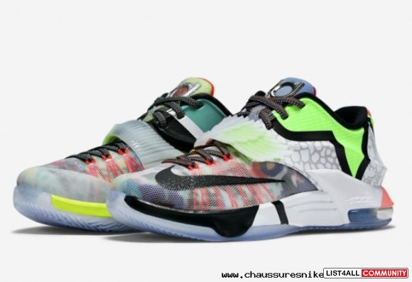 Best Cheap Nike KD 7 What The KD White Grey Green Black Mens Sneakers