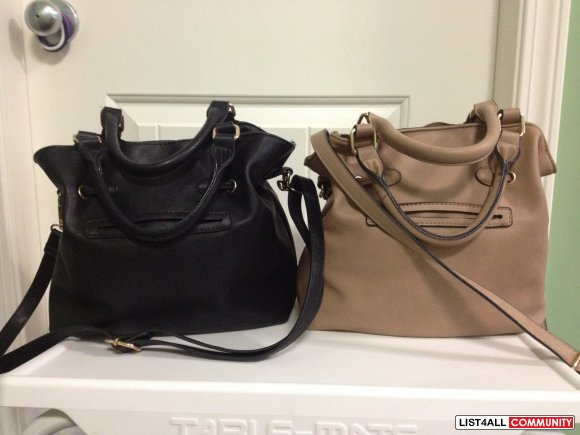 Beige or Black Drawstring Bucket Bag