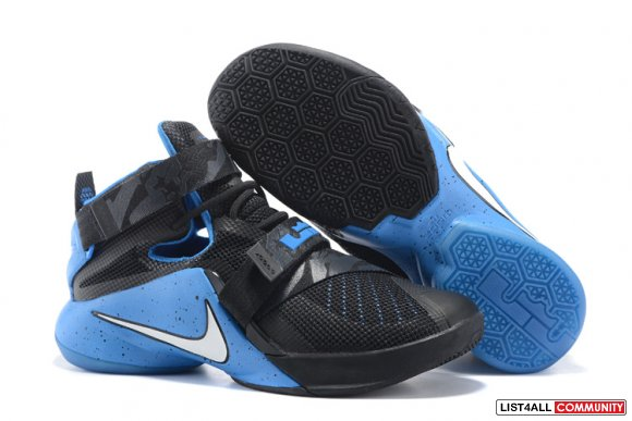 Cheap Nike Lebron Soldier 9 Black Blue www.cheapkobe11.org