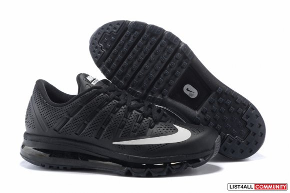 Cheap Air Max 2016 Leather All Black White www.cheaprunning.org