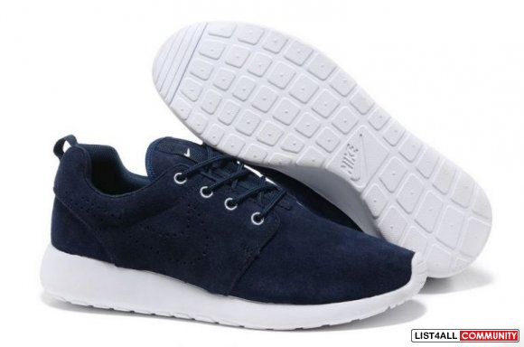 Cheap Mens Nike Roshe Run Dark Blue White www.cheaprunning.org