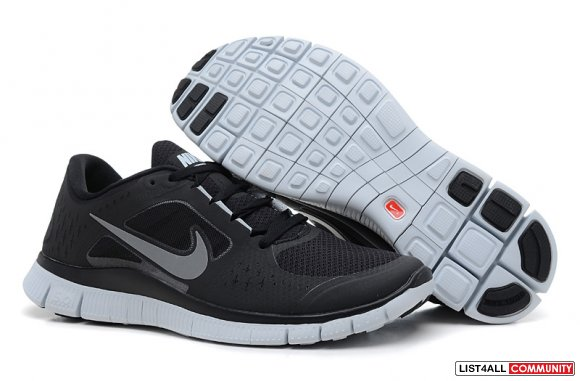 Nike Free Run 3 Black Wolf Grey www.cheaprunnings.com