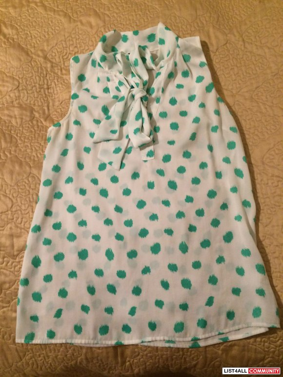 Jacob green polka dot chiffon top