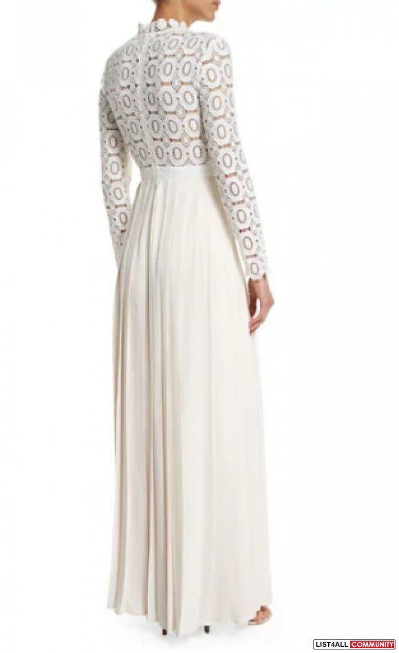 Self Portrait Long-Sleeve Lace & Crepe Dress, Off White
