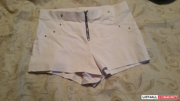 white high waist shorts with some studs