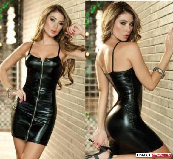 Black wetlook zip up dress
