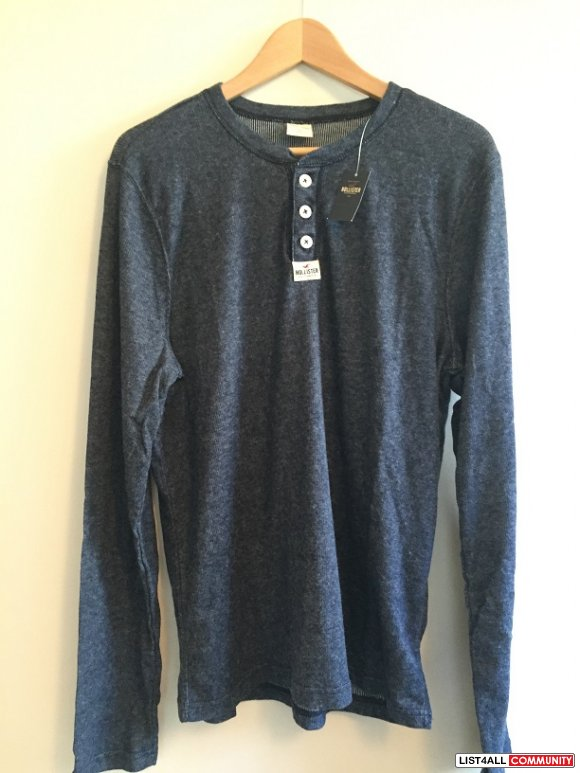 Hollister Denim Blue Henley Shirt X-Large XL BNWT Top